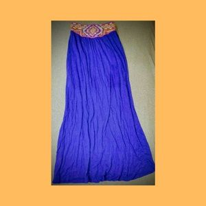 Womens blue flowy maxi skirt with embellished belt